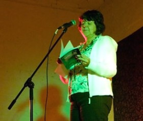 Open mic reader at Wordsoup #4