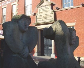 The statue in front of the Corn Exchange reflects the Preston worker's riot in the 19th century