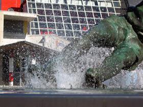 Tom Finney's 'Splash' outside the National Football Museum