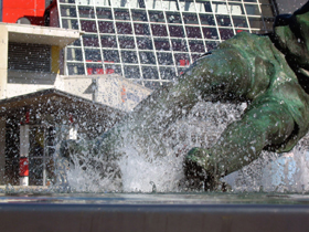 Tom Finney's 'Splash' outside the National Football Museum