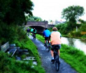 Cyclists by Lancaster Canal