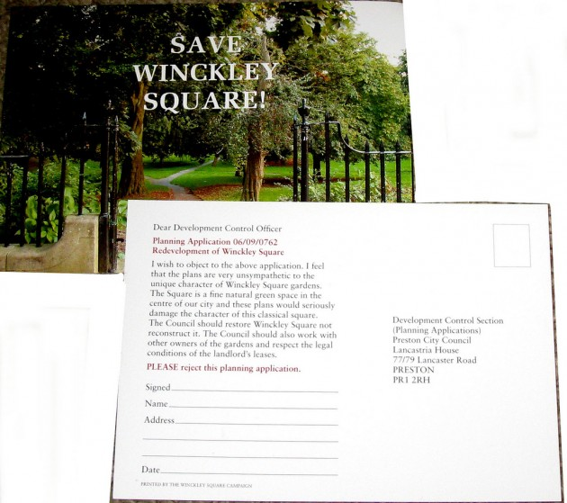 Save Winckley Square postcard