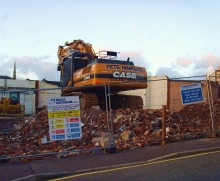 The demolition team move in to prepare next door for the 24m Premier Inn