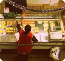 Candid view of a pie counter in Preston&#039;s Indoor Market