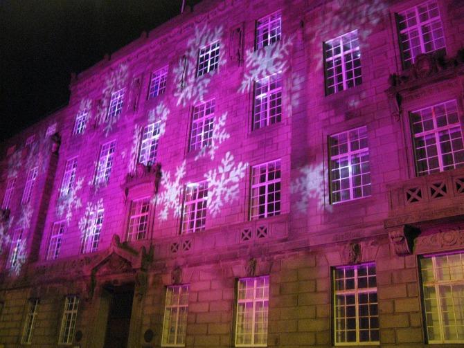 Snowflakes on Preston Town Hall