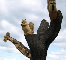 Some of the chainsaw-sculpted trees in Ashton Park, pic courtesy of Tony Worrall.