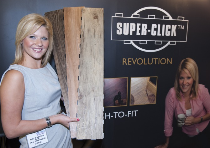 Rachel Coleridge-Smith with Super-Click promotional material