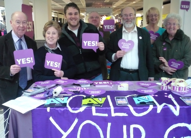 The Alternative Vote stand in the shopping centre