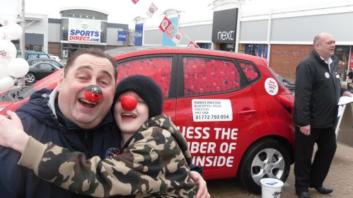 Mark Mansfield-Clark and son Matt, at the 'guess the red noses' competition