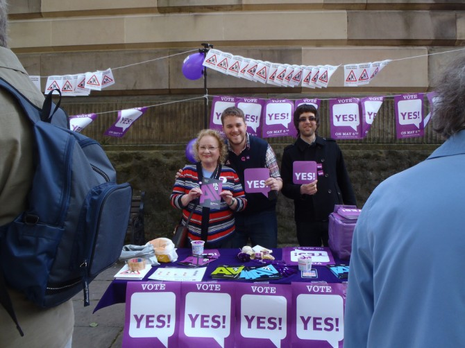 John, centre, with the Yes2AV campaign team