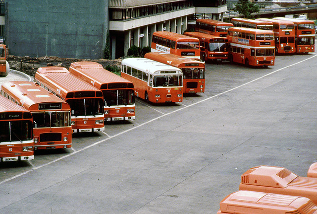 Buses parked outside the station in 1980. Photo by Sou&#039;wester on Flickr.