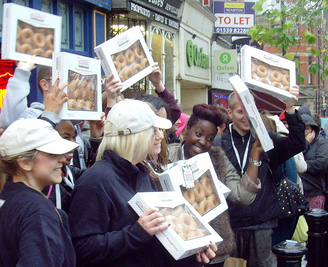 Krispy Kreme doughnuts being handed out on the streets of Preston