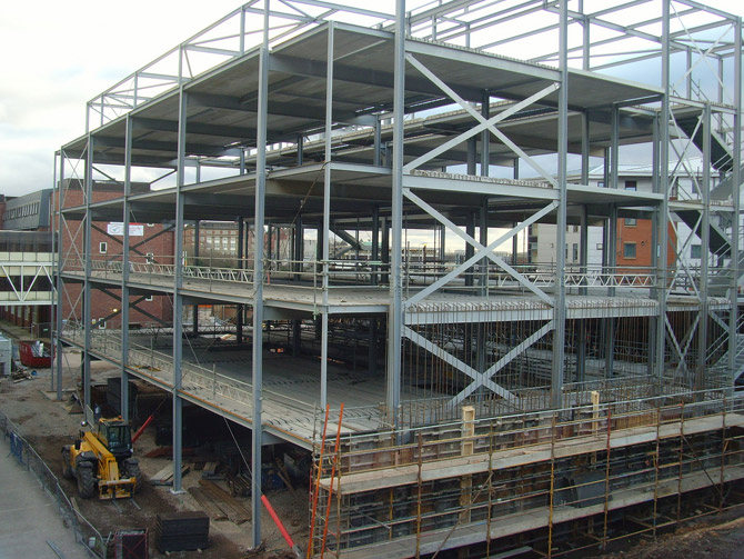 The new J. B. Firth Forensic Science building, part of the University in Preston takes shape