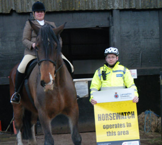 PCSO John Holland with Preston Horsewatch co-ordinator Katy Lawton