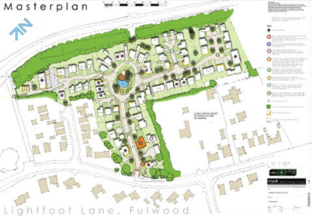 Birdseye view of an artists impression of the Lightfoot Lane development
