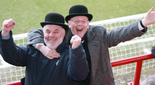 Supporters enjoy Gentry Day in the away end at Brentford