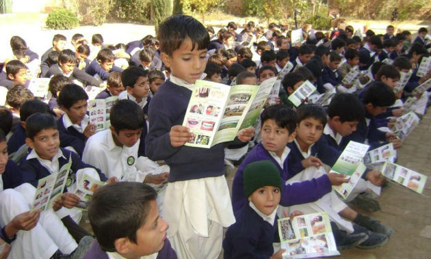 One of the Abaseen Foundation projects in action, a health education class for young boys in Pakistan