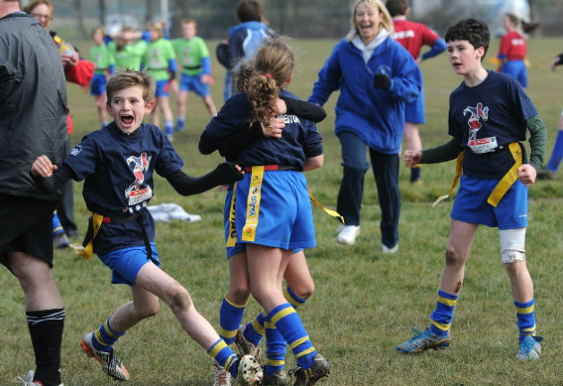 Look at that lads face! Our Lady pupils celebrate their tag rugby victory