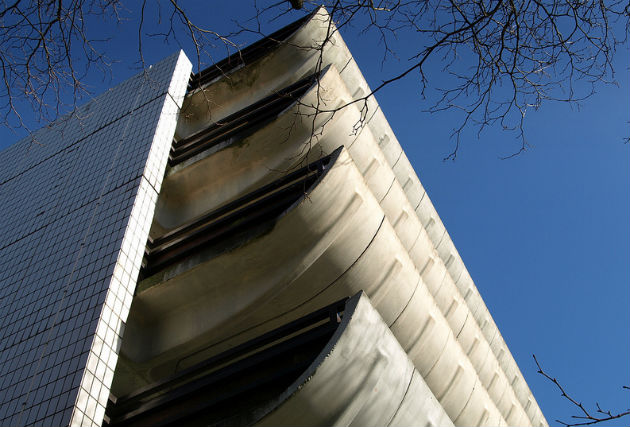 The Bus Station and car park are in the brutalist style of architecture, popular in the 1960s