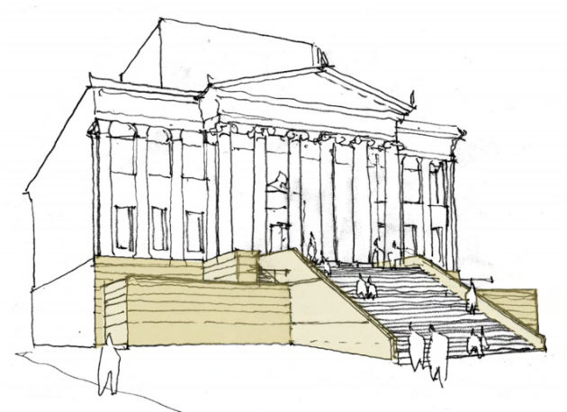 An artists impression of how the Harris could look with the temporary steps