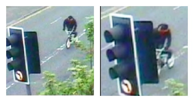 CCTV images shows the man wanted by police on the BMX bike