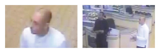 A close-up of one man in the CCTV and the men seen by the tills