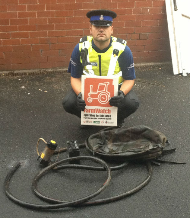 PCSO David Reid with the recovered pump