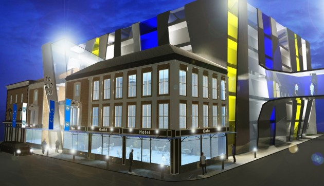 A design for how the Guild Hotel, viewed on Lord Street, would look at night
