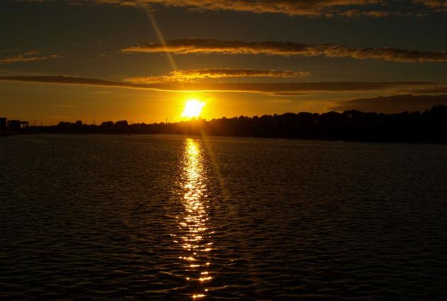 The sun setting over Preston Docks