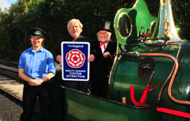 Ribble steam railway volunteers Terri Hearty, Wilf Halliwell and Alan Middleton