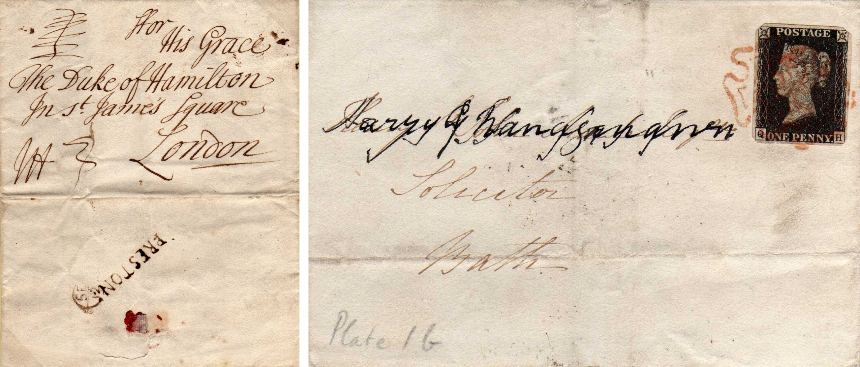 1708 cover & 1840 Cover With Penny Black