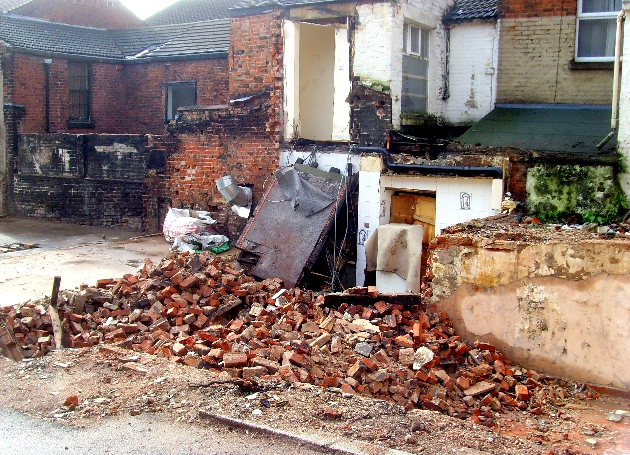 Tony Worrall snapped the demolished cottages