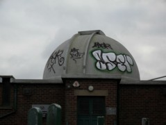 The graffiti on the observatory roof