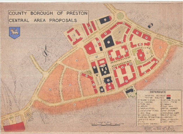 A drawing in 1946 showing the city centre of Preston