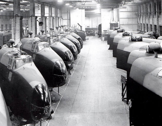 Halifax bomber cockpits being constructed at English Electric on Strand Road  in 1942