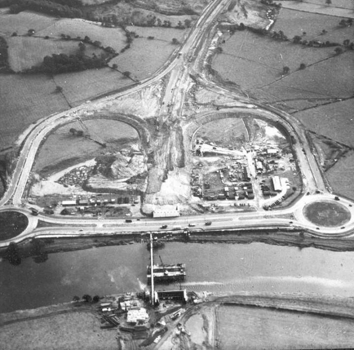 f) Aerial view of Samlesbury Interchange near Preston