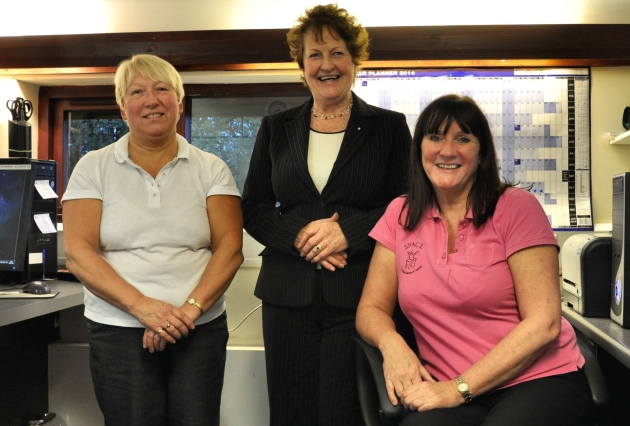 Space Centre - Left To Right - Margaret Stanley, Facilitator - Hilary Holden, Fundraising Coordinator - Alison Shorrock, Centre Manager