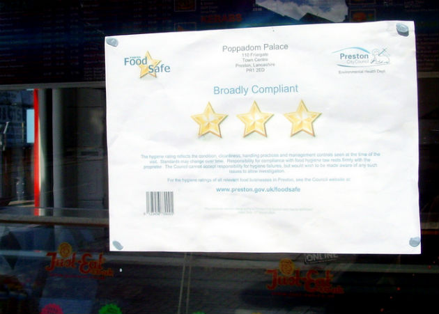 Takeaways are encouraged to display their star rating