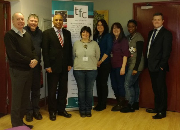 Mark Hendrick (third from left) with staff and volunters at the Foxton Centre
