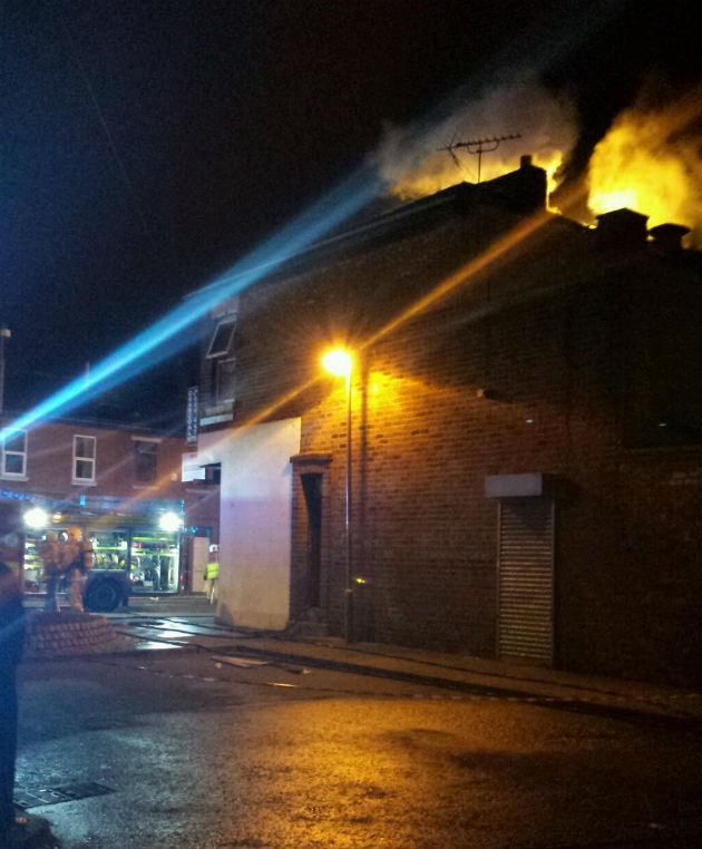 View of the fire from a side road off New Hall Lane