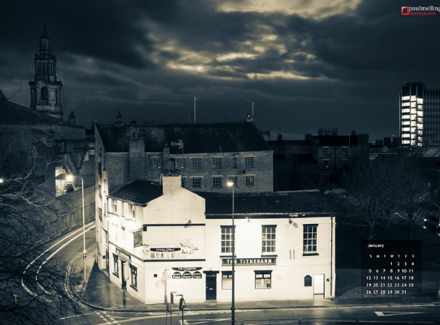 Paul Melling's January picture includes the Tithebarn pub
