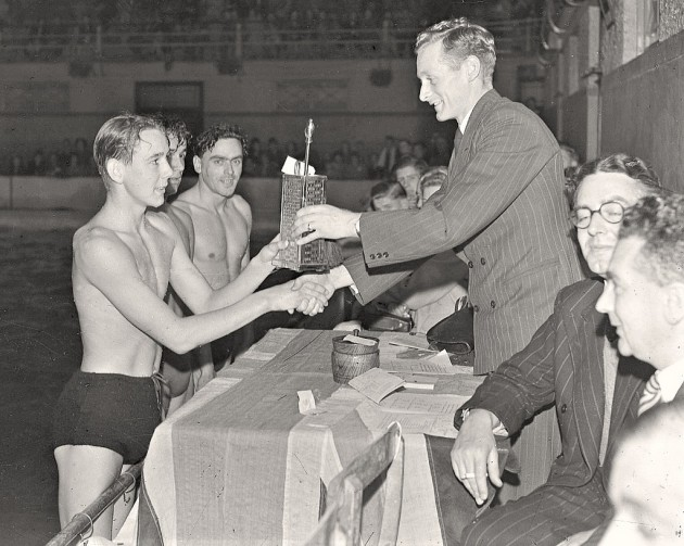1953. Sir Tom gives out prizes at Saul Street baths