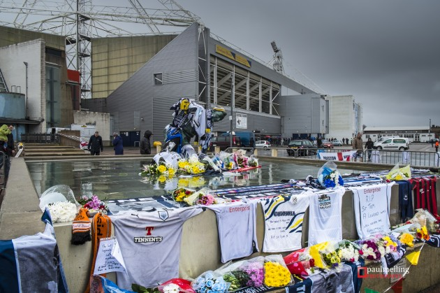 Flowers and tributes laid outside Deepdale