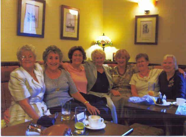 (Left to Right) Mavis Brooks, Barbara Austin, Stephanie Moon, Janice Rawlinson, Valerie Heaton, Margaret Almond, Joyce Beetham