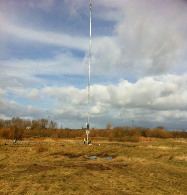 The test mast off Wallend Road