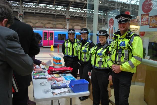 British Transport Police on hand at Preston Railway Station.