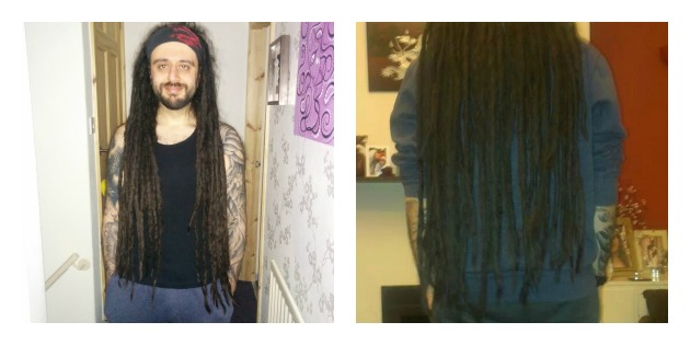 Front and back view of Mike's dreads
