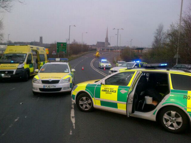 Picture tweeted from the scene by Phil Jones, Penwortham fire station manager