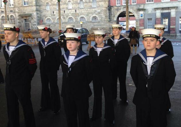 Preston Sea Cadets standing to attention