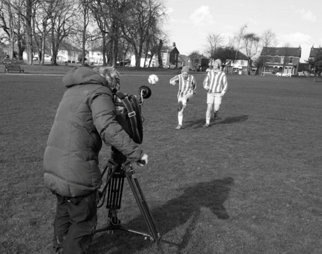 Gail and her team being filmed by NHK on Ashton Park, pretending to be the Dick, Kerr Ladies